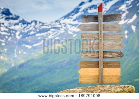 Wooden Sign In Norwegian Mountains.