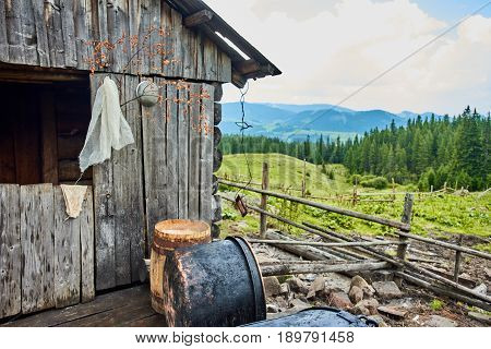 Traditional cheese making in a authentic way in wooden mountain house