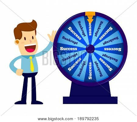 Vector stock of a businessman spinning a wheel of fortune