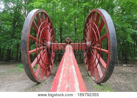 Michigan logging wheels used to move logs out of the woods