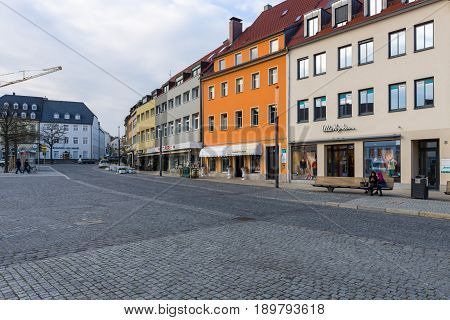 SCHWEINFURT GERMANY - APRIL 21 2017: Market square in the historical part of the city. Schweinfurt - a medieval city founded in 761 year.