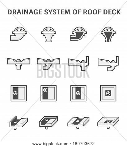 Vector icon design of roof deck drainage system.