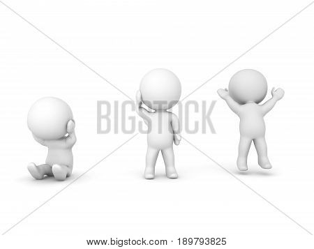 3D Illustration Of A Depressed Character, One Confused And A Cheerful One