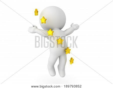 3D Character Ascending To The Sky With Stars Swirling Around Him