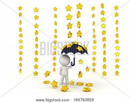 0538 3D Character Holding Umbrella While Stars Are Raining Down