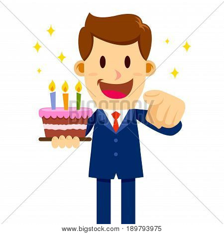 Vector stock of a businessman with a happy face holding a birthday cake