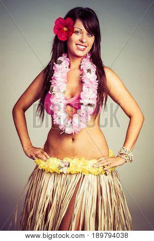 Beautiful smiling hula dancer woman