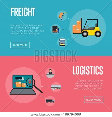 Logistics and freight shipment banners vector illustration. Forklift truck with packing boxes, laptop with delivery map. Warehouse logistics and cargo transportation, postal service and distribution
