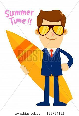 Vector stock of a businessman wearing sunglasses while holding a surfboard