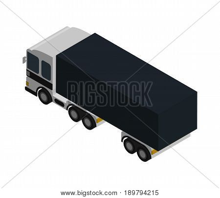 Modern lorry truck side view isometric icon. Commercial freight truck, vehicle for cargo transportation, trucking and delivery service vector illustration