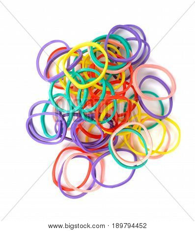Multicolored rubber or elastic bands isolate on white background