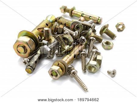 bolt screws and nut isolated on white background