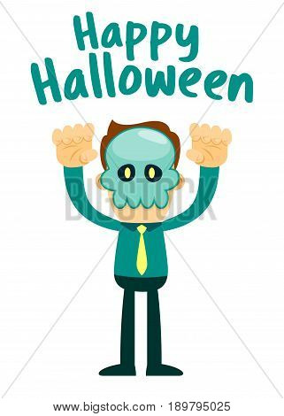 Vector stock of businessman wearing skull halloween mask