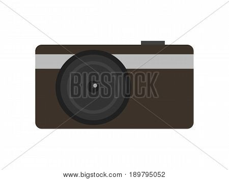 Modern compact digital photo camera icon. Optical photo equipment isolated vector illustration in flat design.