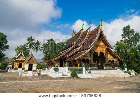 Wat Xieng Thong Buddhist temple The most important buddhist temple in Luang Prabang Laos. This town was listed as a UNESCO World Heritage Site in 1995