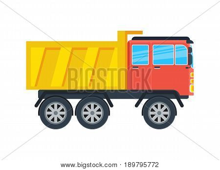 Commercial tipper isolated icon. Modern lorry car, freight transport side view vector illustration in flar design.