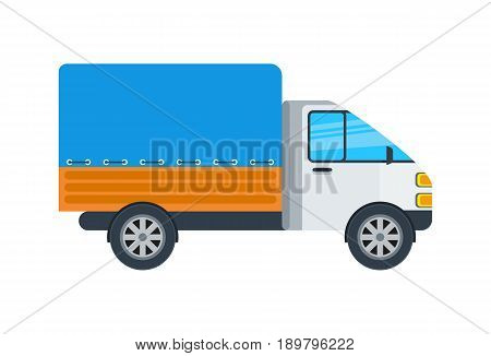 Delivery truck isolated icon. Commercial van, modern lorry car, freight transport side view vector illustration.