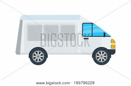 Delivery van isolated icon. Commercial truck, modern lorry car, freight transport side view vector illustration.