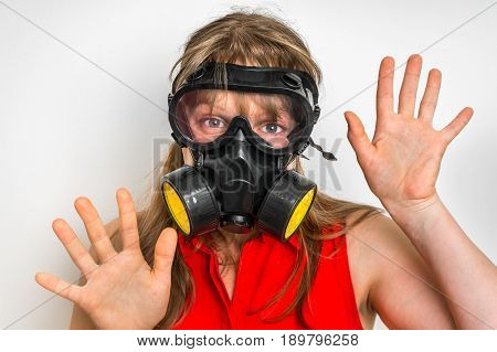 Business Woman With Gas Mask Is Showing Negative Gesture