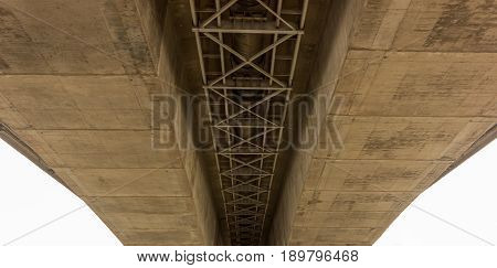 Structure under the bridge over the river.