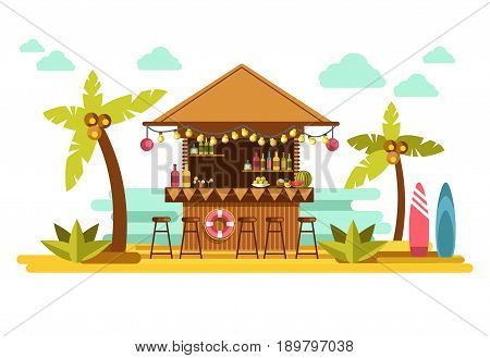 Beach bar counter of tropical resort. Vector flat design of exotic booth with alcohol cocktail drinks for summer holiday vacation party wtith palms and sand at ocean