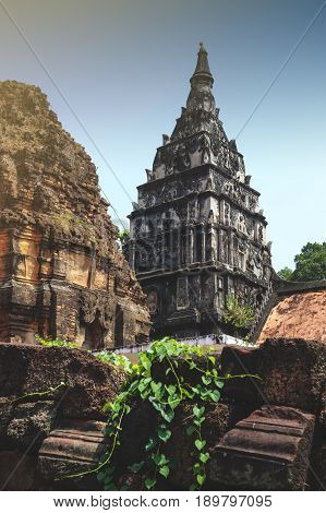 Ku Phra Kona group of Khmer prangs or pagodas built in the 11th century with Baphuon architectural style in Roi Et province Northeastern Thailand