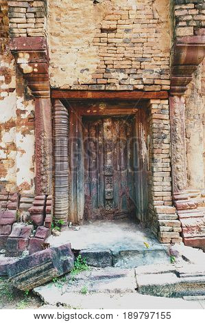Blind Stone Door Flanked By Colonettes At Ku Phra Kona, Group Of Khmer Prang Or Pagodas Built In The