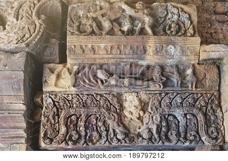 Ornamental Carved Stone Lintel Showing Vishnu Reclining On The Serpent Ananta Sesha (narai Bantomsin