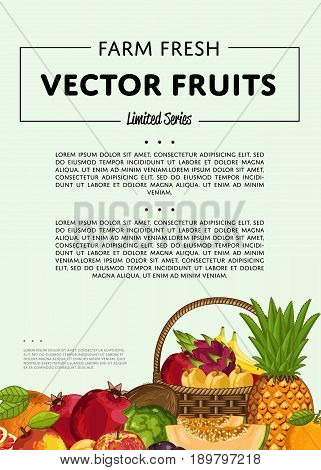 Fresh organic fruit poster vector illustration. Natural product, juicy fruit, vegetarian delicious nutrition, organic healthy food. Pineapple, melon, banana, pomegranate, peach, coconut, apple, orange