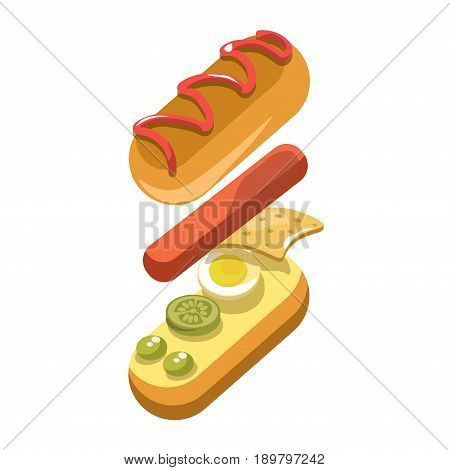 Hot dog constructor or fast food sandwich ingredients and filling layer of bun and sausage. Vector flat isolated icon for fastfood restaurant hotdog snack and meal menu or infographics element