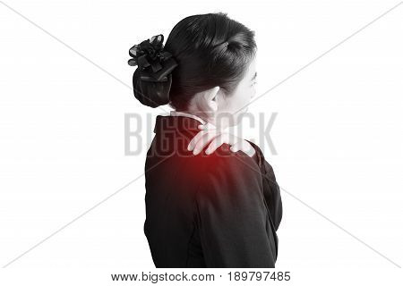 Painful Shoulder In A Woman Isolated On White Background. Clipping Path On White Background.