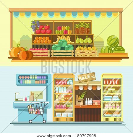 Shop, store and market counters or product booth displays. Vector flat vendor stands for fruits, supermarket grocery and dairy or frozen food showcase or shop-window refrigerators for sale or shopping
