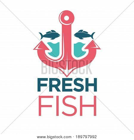 Fresh fish market promotional emblem with red shiny metal anchor, blue water, dark navy fishes silhouettes on both side and big sign underneath isolated vector illustration on white background.