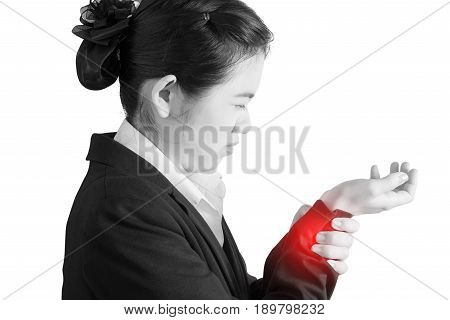 Acute Pain In A Woman Wrist Isolated On White Background. Clipping Path On White Background.