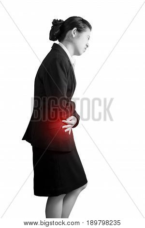 Stomachache In A Woman Isolated On White Background. Clipping Path On White Background.