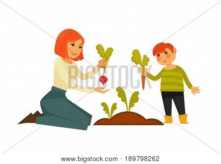 Mother and small son pulling carrot and beet from ground isolated on white close up vector colorful poster in flat design. Child helping parent to work with plants outside on fresh air template