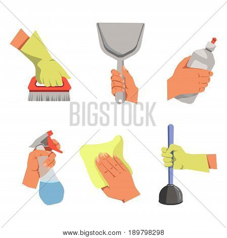 Bare hands with grey scoop, dishwashing liquid, spray for glass cleaning and yellow rag. Palms in latex gloves hold red carpet brush and plunger with blue handle isolated vector illustrations set.