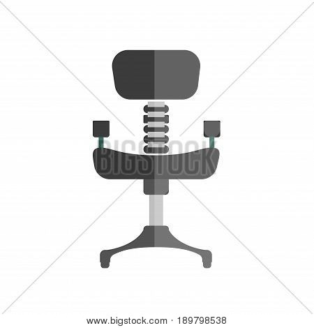 Comfortable office chair with black leather upholstery, iron spine and leg isolated vector illustration on white background. Modern soft furniture for stylish study room and convenient workplace.