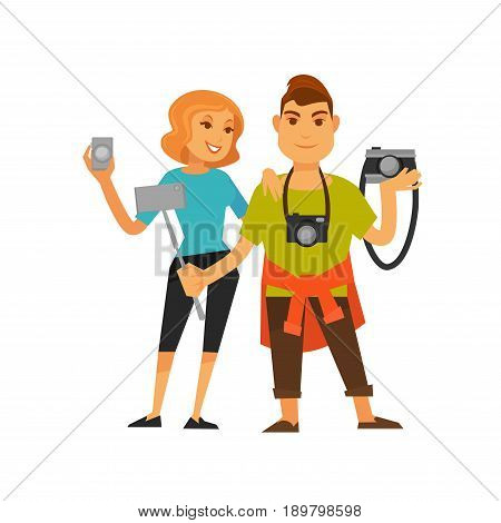 Young travelling couple holding cameras and selfie stick. Happy moments of life while trip or voyage template. Vector full length portrait of man and woman in casual clothes ready for holidays