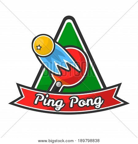 Ping pong logotype with red racket, yellow ball with small star that ricochets and flies fast, green triangle behind and red ribbon with sign isolated vector illustration on white background.