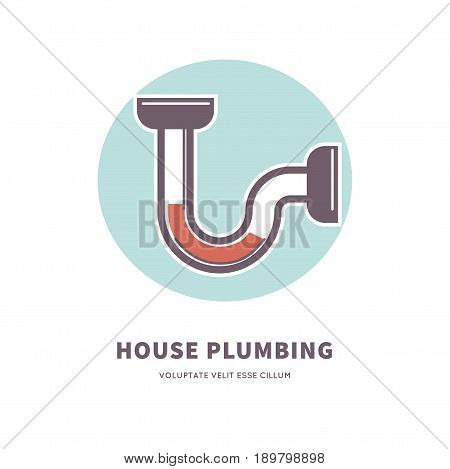 House plumbing service promotional emblem with clogged water pipe purple outline and red substance inside, on light blue circle isolated flat cartoon vector illustration on white background.