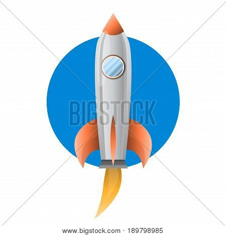 Space metal rocket with big blue pothole, shiny body and orange details flies up and produce fire torrent from single turbine, on blue circle isolated cartoon vector illustration on white background.
