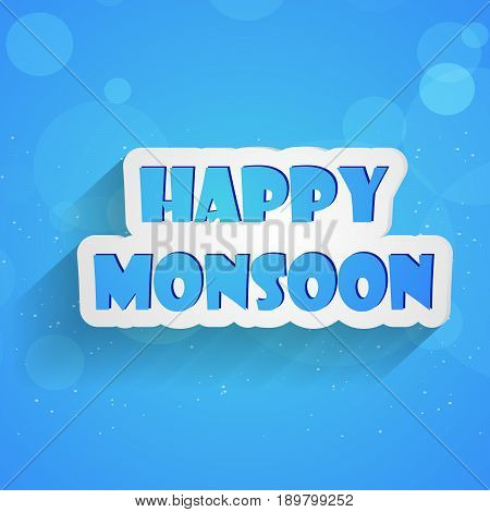 illustration of Happy Monsoon text on blue background