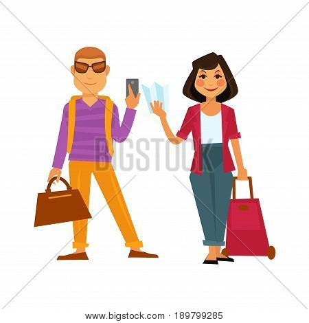 People on travel of man and woman with smartphone, voyage bags and map for holiday vacation trip. Vector flat isolated icons