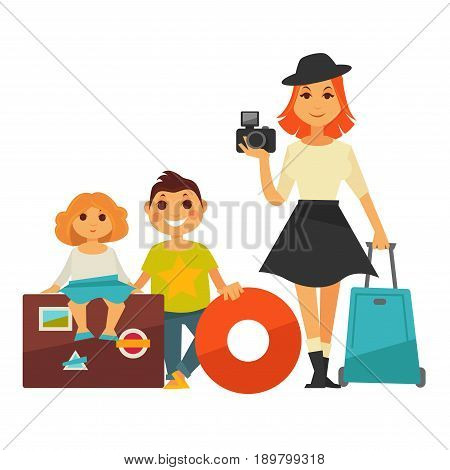 Family people on travel. Mother woman with photo camera and children boy and girl sitting on luggage bags with inflated swimming ball. Vector flat isolated icons for holiday vacation trip or journey