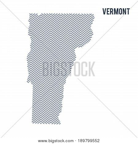 Vector Abstract Hatched Map Of State Of Vermont Isolated On A White Background.