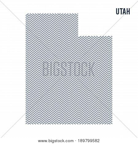 Vector Abstract Hatched Map Of State Of Utah Isolated On A White Background.
