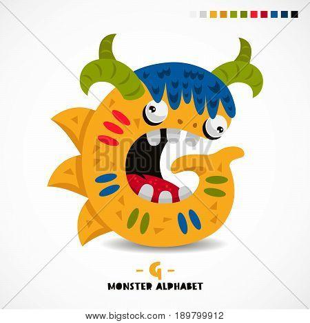 Monster alphabet. Letter G. Strange animal. Vector illustration on white background. Great children's print. The concept of a kid's toy.
