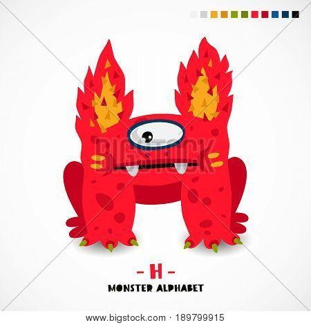 Monster alphabet. Letter H. A strange animal. Vector illustration on white background. Great children's print. The concept of a kid's toy.