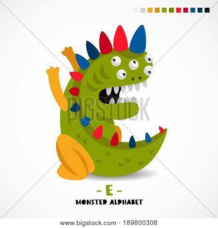 Monster alphabet. Letter E. Strange animal. Vector illustration on white background. Great children's print. The concept of a kid's toy.